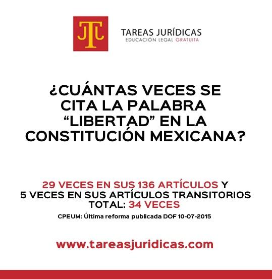 CUANTAS VECES SE CITA LA PALABRA LIBERTAD EN LA CONSTITUCION MEXICANA, RESPUESTA+